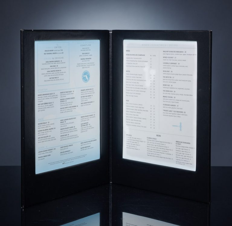LED Backlit Menus - Custom Colors and Logo Embossing or Silkscreen.