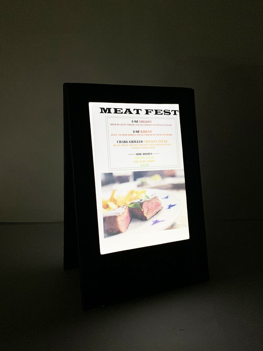 Beautiful LED Menus are made with soft white LED light