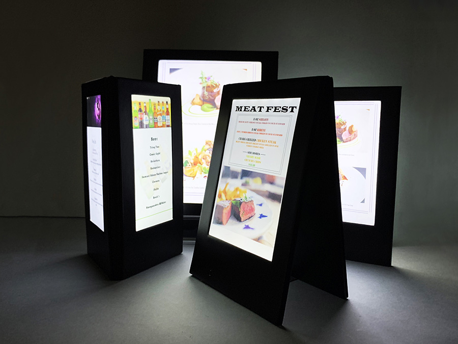 All of our LED menus are made with soft white LED light for easy reading just like the Kindle and E-Readers.