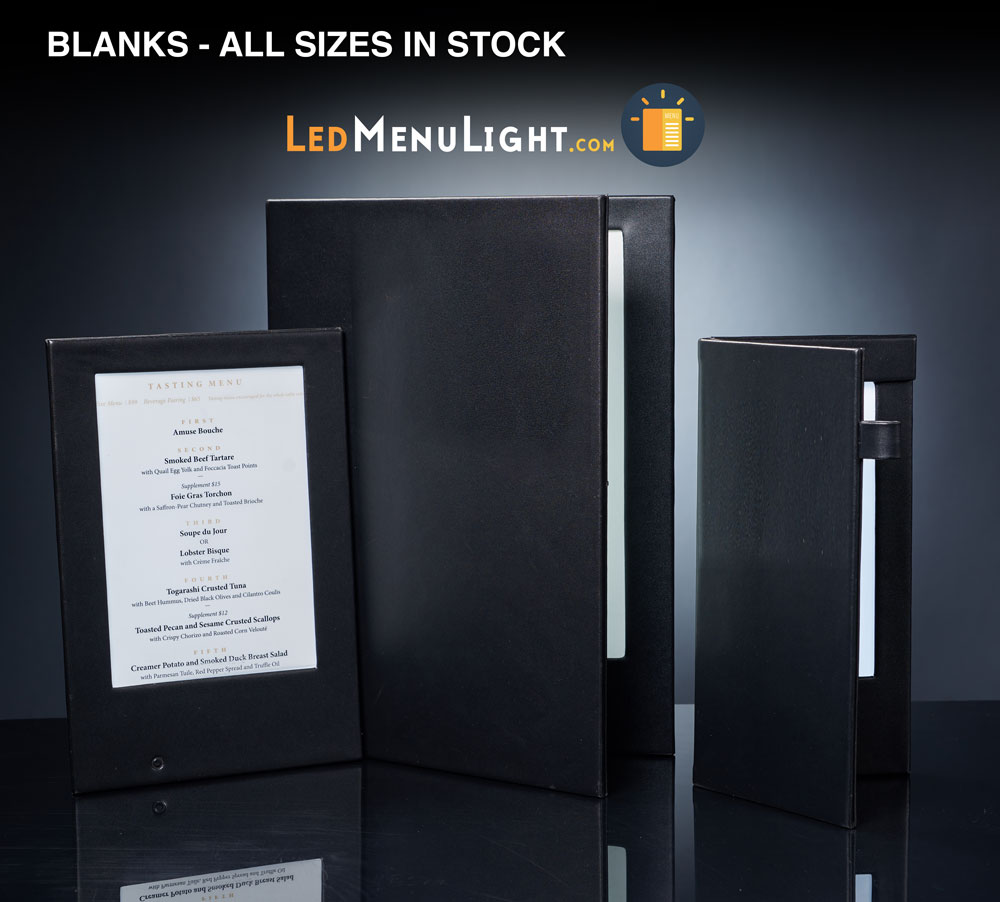Blank LED menu covers for sale at LEDmenulight.com