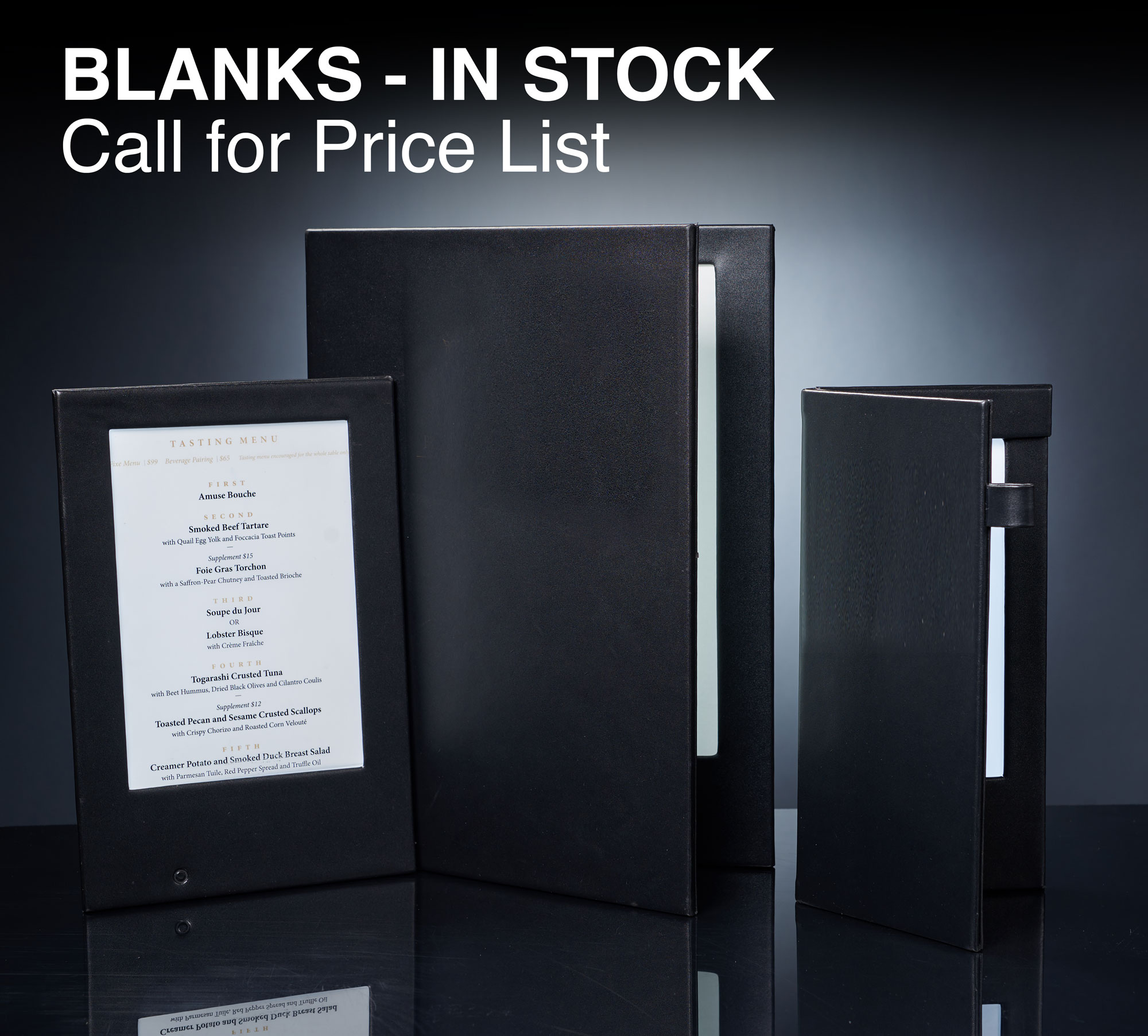 Blank Menu Covers - In Stock - Free Shipping!