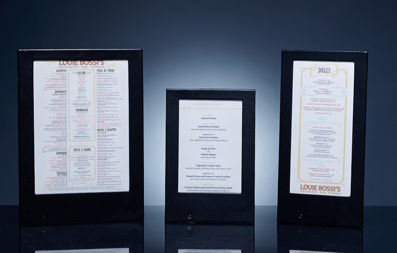 LED Backlit Menus for Restaurants and Bars for LOUIE BOSSI'S Restaurant by www.ledmenulight.com